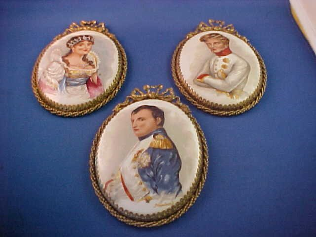 Lot of 3 Early handpainted on porcelain plaques