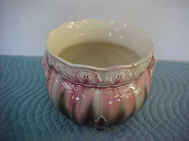 "Early English Majolica jardinier bowl only 10-1/2""tall"