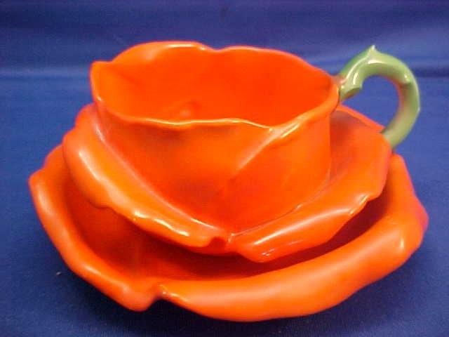 "Royal Bayreuth Red Rose 4-1/2"" w cup and saucer"