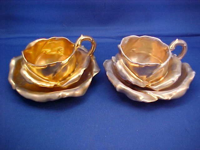 "Pair of Royal Bayreuth Gold Rose 4-1/2""  cup and saucer"