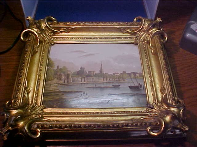 Porcelain picture in gold frame