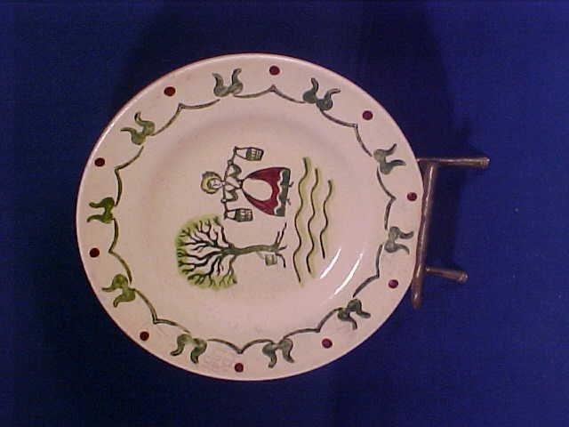 Handpainted Poppytrail plate w/brass stand