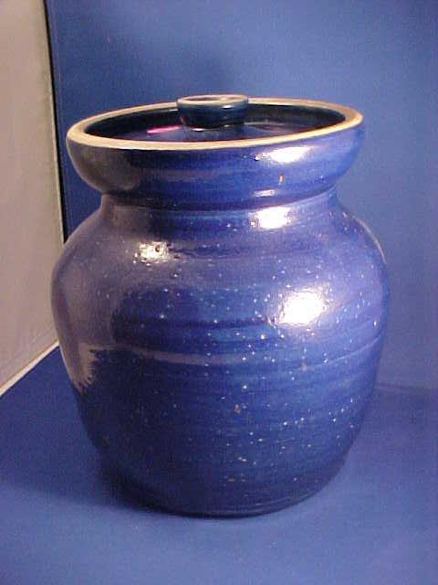 Blue Stoneware lidded crock