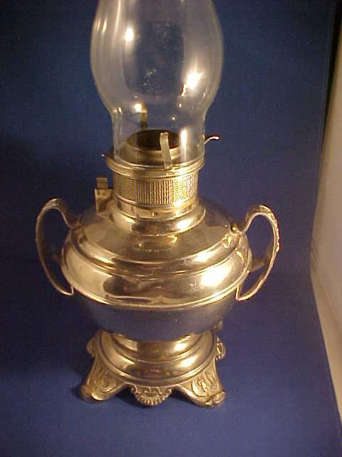 """""""The Rochester"""" silverplate oil lamp"""