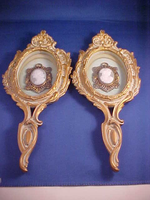 Pair of Limoges cameo wall plaques w/Jesso frames