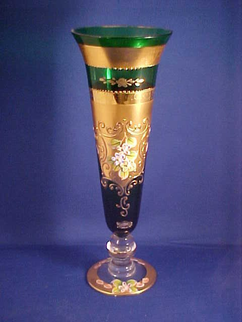 Gold decorated vase with green glass