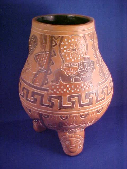 3-legged Indian decorated vase