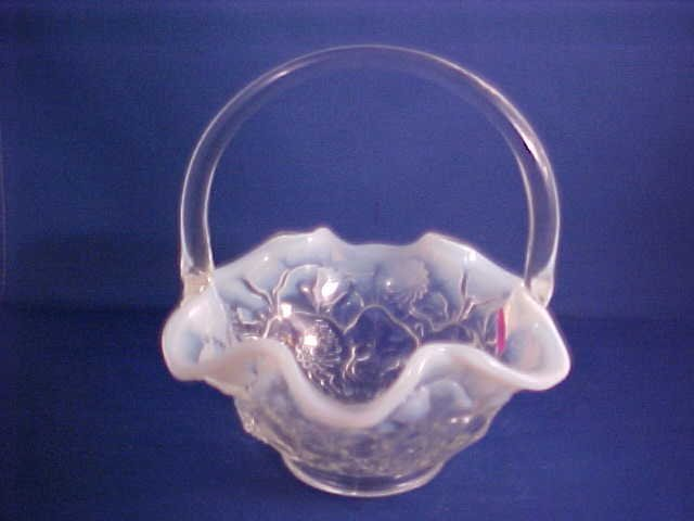 Opalescent to clear  art glass basket