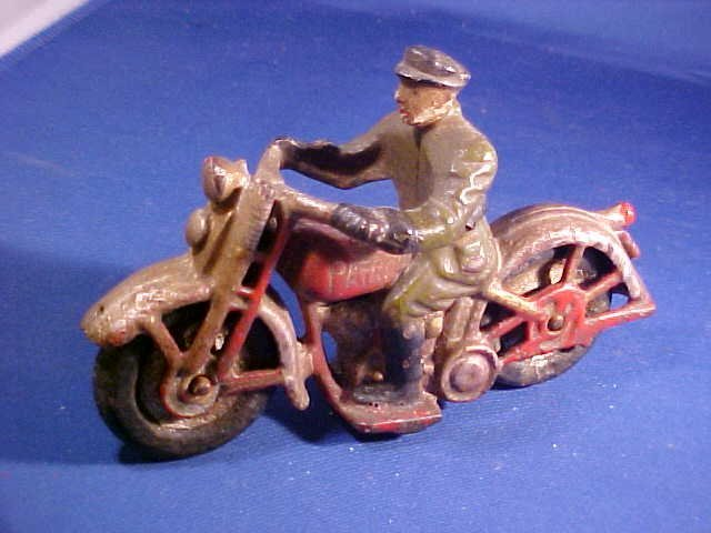 Early cast iron police patrol toy motorcycle