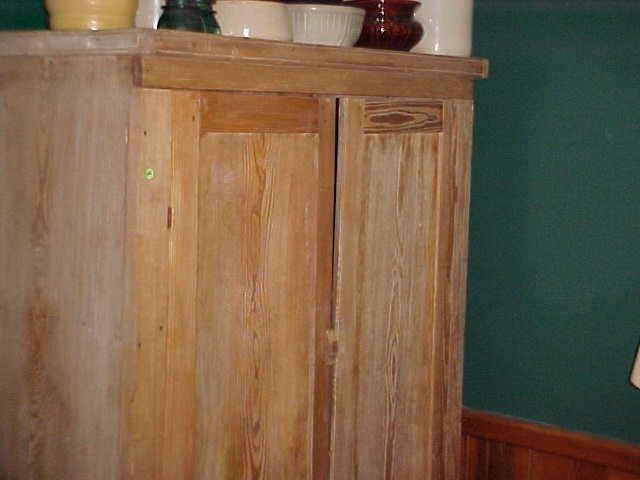 Early heart pine primitive 2 door linen press cupboard