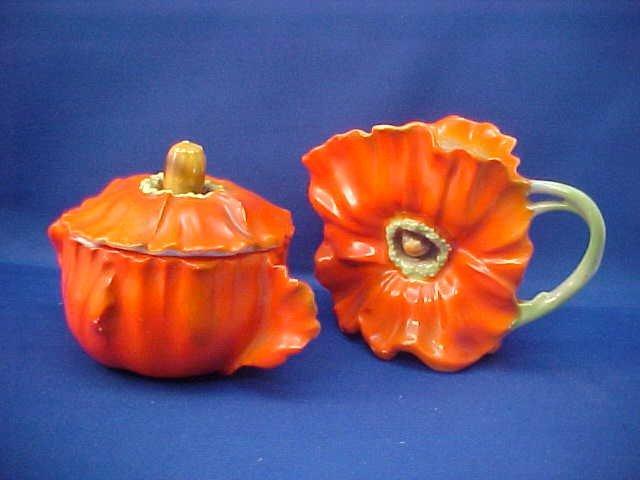 Royal Bayreuth Red/Orange Pansy Sugar and Creamer