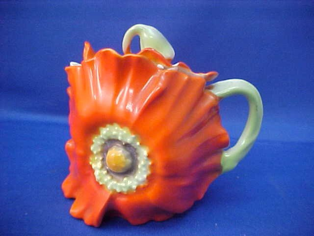 Royal Bayreuth Red/Orange Pansy Covered Sugar w/spoon