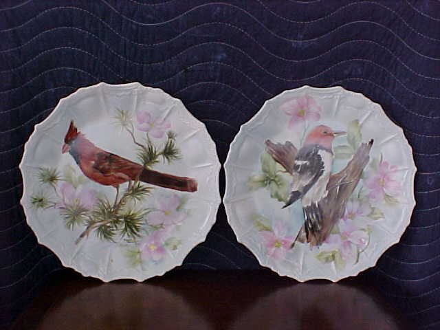 signed Pearl Carson 1985 2 pc hand painted plates