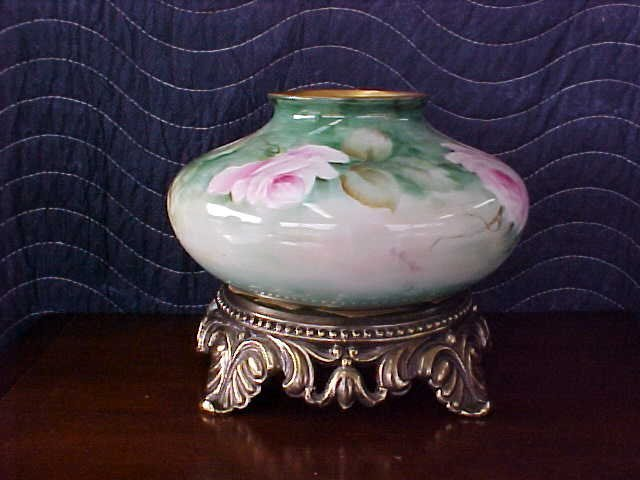 Signed Pearl Carson 1979 handpainted vase w/brass