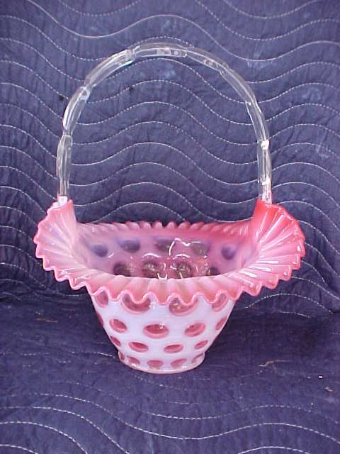 Cranberry opalescent fenton basket
