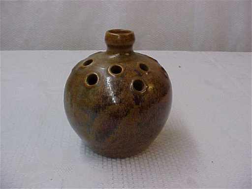 Signed Wj Gordy Pottery Flower Frog Vase