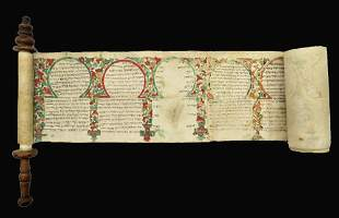 A Illuminated Parchment Esther Scroll, Morocco, 19th
