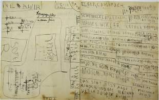 Manuscript by Rabbi Shlomo Carlebach. of a childish