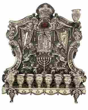 A Silver Chanukah Lamp, Mid 20th Century.