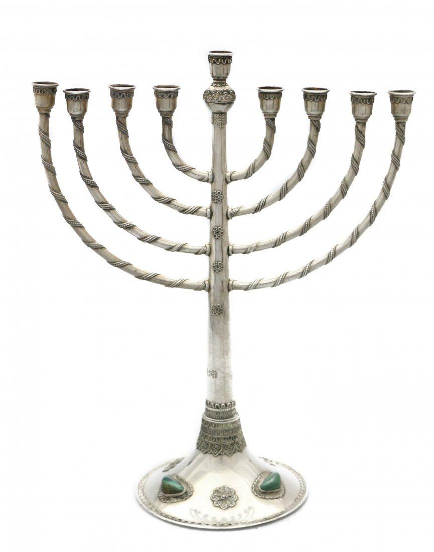 A SILVER CHANUKAH MENORAH BY BEZALEL