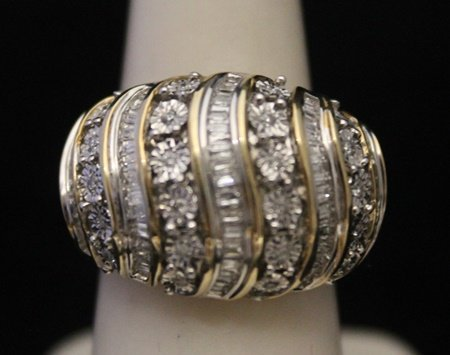 Fancy 14kt over Silver Ring with Cluster Diamonds (1J)