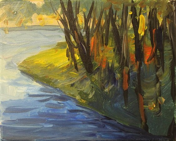 "Acrylic on Canvas ""Waters Edge"" by Michael Schofield"