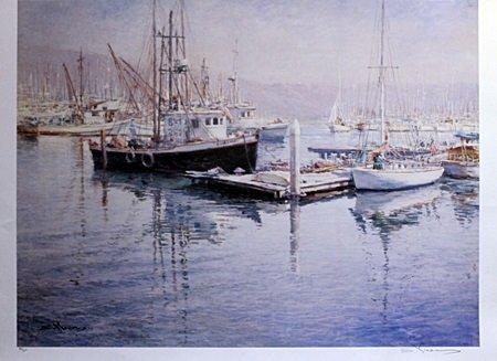 "Lithograph ""Shipyard"" After S. Ywen (1A)"