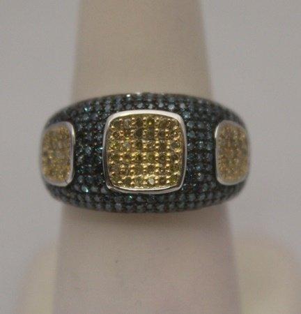 Gorgeous Blue & Champagne Diamonds Silver Ring (2R)