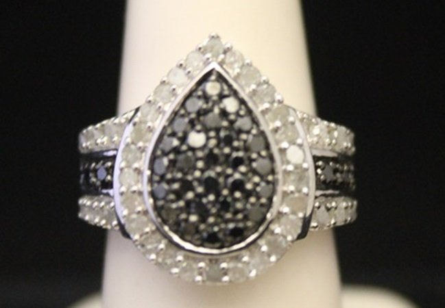 Fancy Silver Ring with Black & White Cluster Diamonds