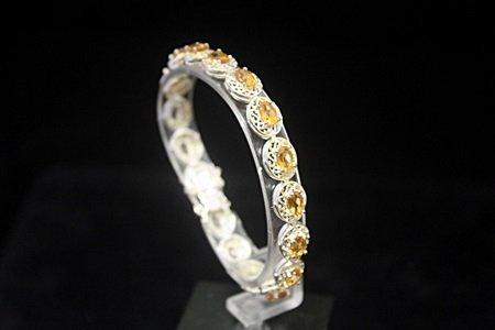 Gorgeous Golden Sapphires Silver Bracelet (5B)