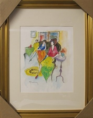 Watercolor After Itzchak Tarkay (1F)