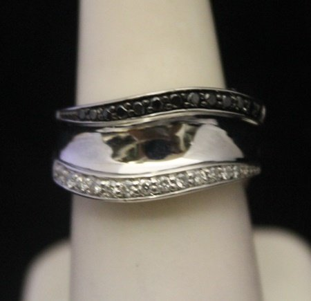 Fancy Silver Ring with Black & White Diamonds (202J)