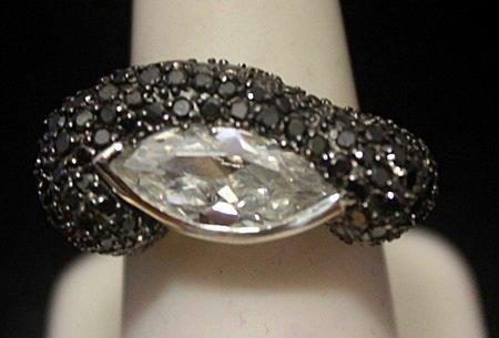 Gorgeous White Sapphire & Black Diamonds Silver Ring