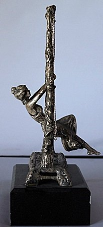Woman on a Swing -  .999 Silver Sculpture