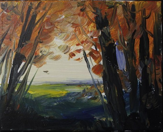 """Acrylic on Canvas """"Through the Trees"""" by Michael"""