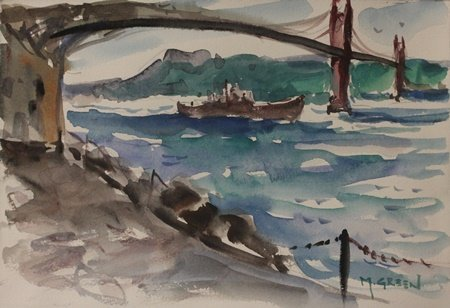 """Original Watercolor on Paper """"The Golden Gate"""" by M."""