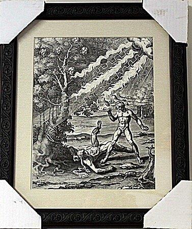 Framed Apollo killing the boxer Phorbas Engraving