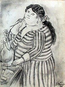 Senora Maria - Graphite Drawing - Fernando Botero