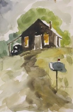 """Original Watercolor on Paper """"Old Cabin in Fall"""" by"""