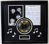 """""""There's A Place"""" Beatles Music Sheet & Gold Record"""