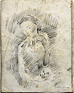 Woman with Skull, 86' - Drawing on Paper - P. Cezanne