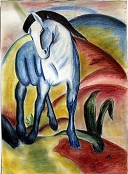 Pastel Drawing on Paper by Franz Marc