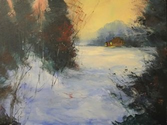 """Acrylic on Canvas """"Winter Deep Cold"""" by Michael"""