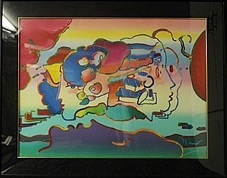 """""""Three Faces"""" Original Lithograph By Peter Max"""
