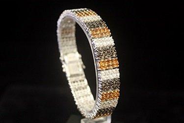 Beautiful Golden & White Sapphire Silver Bracelet