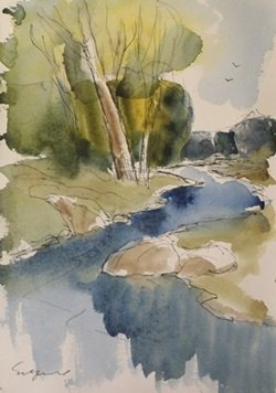 "Original Ink & Watercolor on Paper ""Spring Creek"" by"