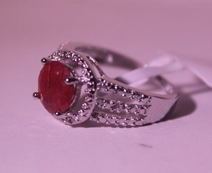 Exquisite Sterling Silver Ring with Pigeon Blood Ruby - 2