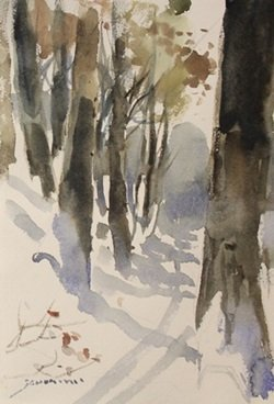 "Original Watercolor on Paper ""Trail in Winter"" by"