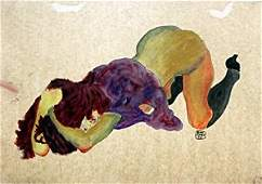 Nude Girl  Watercolor Painting on Paper  Egon Schiele