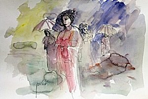 Ink & Watercolor Painting on Paper - Pino
